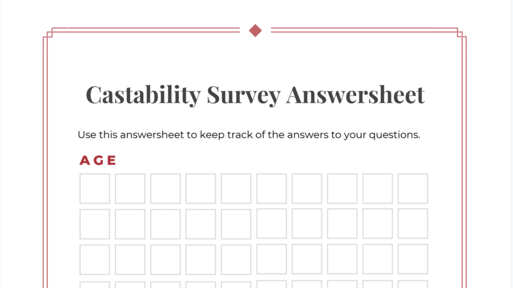 The Castability Survey Answersheet