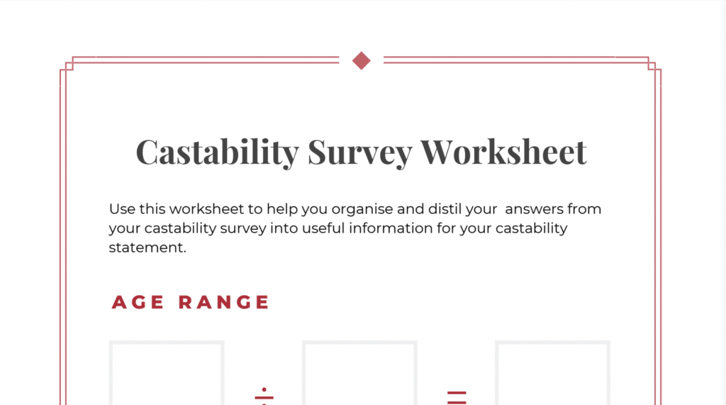 The Castability Survey Worksheet pdf